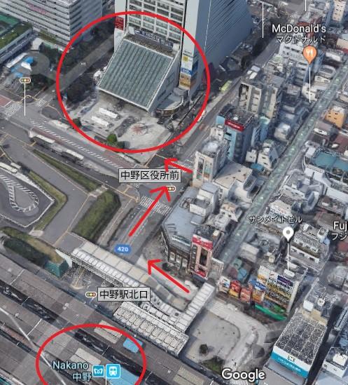 Directions to Nakano Sun Plaza (Google)